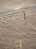 pic of geoglyph  - Aerial view of Nazca Lines in Peruvian Desert - JPG