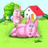 Постер, плакат: Семья свиней