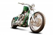 image of motorcycle  - Isolated green chopper motorcycle on white background - JPG