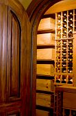 Mahogany Door And Wine Cellar