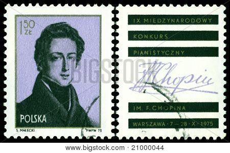 Vintage Postage Stamp. Frederic hopin