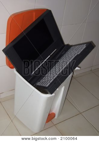 Obsolete Computer In The Trashcan