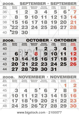 Business Three Months Calendar