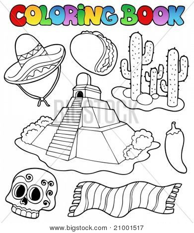 Coloring book with Mexican theme 1 - vector illustration.