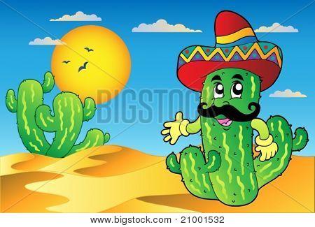 Cena do deserto com cacto mexicano - ilustração vetorial.