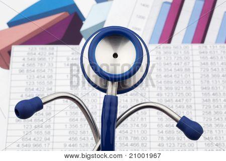 Stethoscope and balance sheet figures