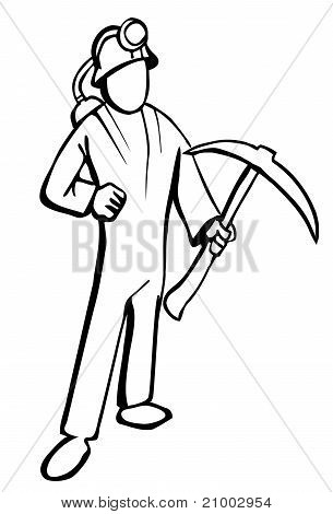 Simplified Miner Illustration In Black And White