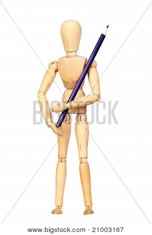 Jointed Wooden Mannequin With A Blue Pencil