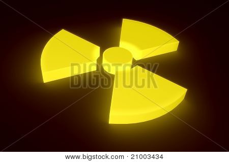 Glowing radioactive sign