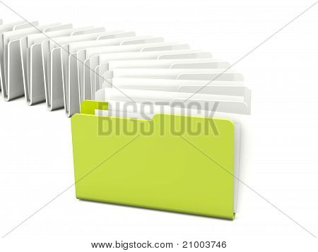 Green folder in a row