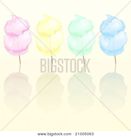 Candy floss in four different colours reflected. EPS10 vector format.