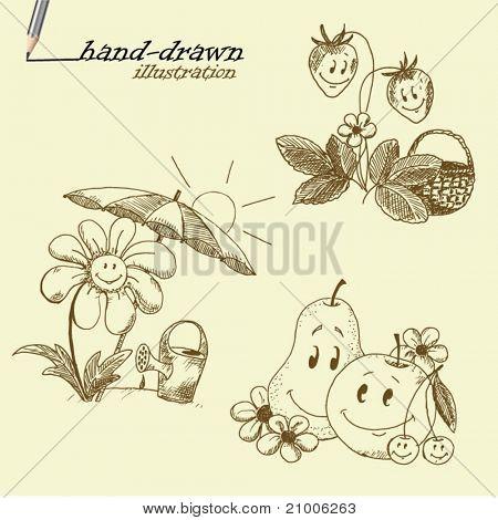 summer hand-drawn illustrations