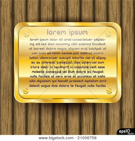 Golden plate on wooden background (vintage vector)