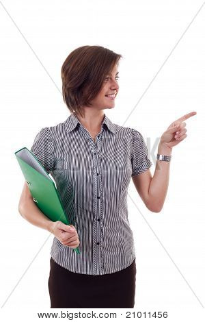 Business Woman Holding A Folder
