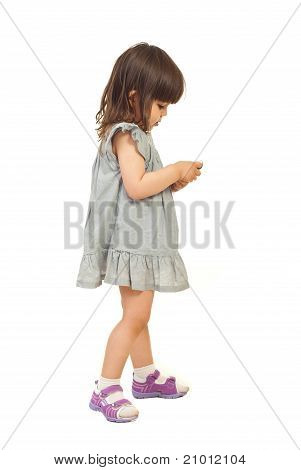 Girl Sending Message On Phone Mobile