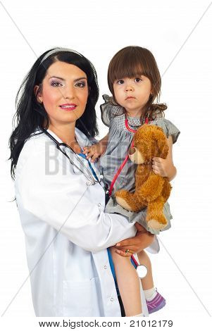 Doctor Woman Holding Toddler Girl