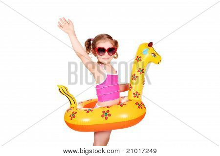 little girl with sunglasses ready for beach