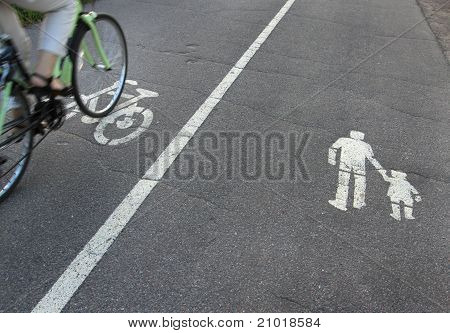 Signs on asphalt