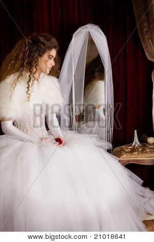 Spanish type girl in a wedding dress