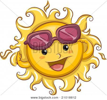 Illustration of the Sun with its Shades Partially Raised