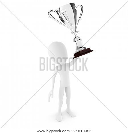 3d man winner holding a big shiny trophy