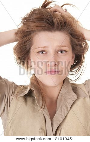 Beautiful Young Woman in Confused Expression