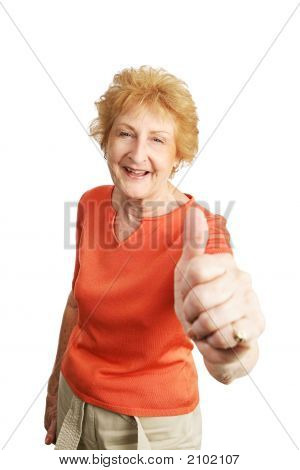 Red Haired Senior Thumbsup