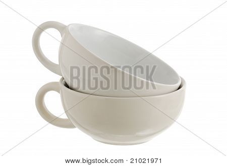 Two Stacked White Ceramic Soup Cups