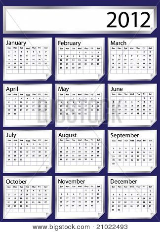 A 2012 calendar created with silver stickers. Space for text or Company name. Also available in vector format.