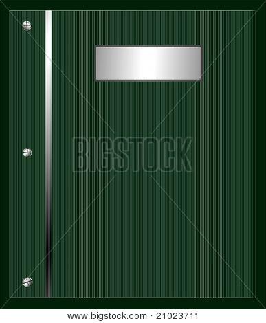 Álbum de vetor ou capa de relatório com placa de identificação metálica prata