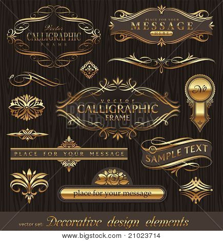 Vector set of golden ornate page decor elements:  banners, frames, dividers, ornaments and patterns on dark wood background