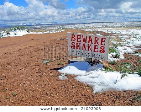 Snakes Warning Sign On Road, Winter Mountains Landscape, Clouds