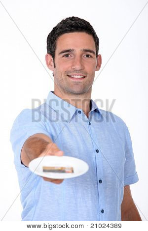 Man paying restaurant bill with credit card