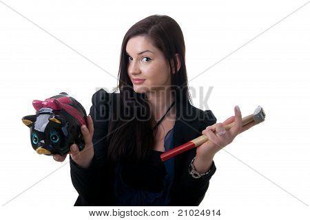 Woman Coinbank Hammer