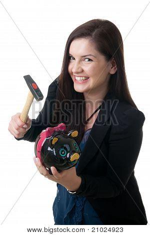 Woman Coinbank Hammer Smile