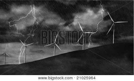 Wind Turbines on Electric Storm