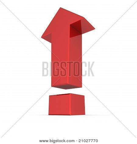 Shiny Red Exclamation Mark Symbol - Arrow Up