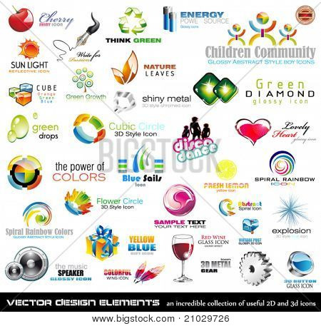 Mega collection of 2D and 3D quality design elements with a lot of variety ideal for business flyer and presentation,