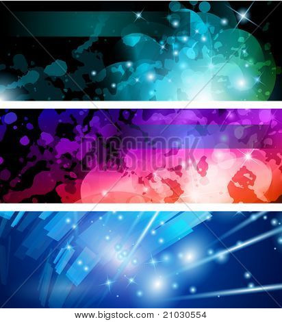 Abstract Business Card Collection: Flow of lights header backgrounds with abstract motive and rainbow colors