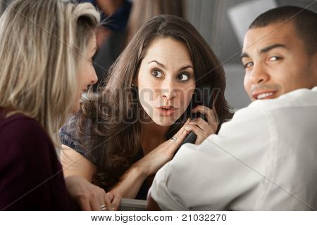 Surprised Office Worker On Phone