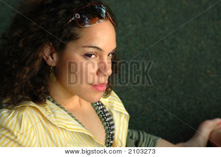 Beautiful Mixed Ethnicity Girl With Copy Space