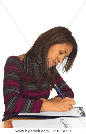 Peruvian Woman Writing