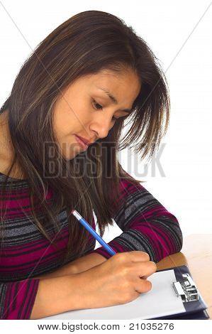 Peruvian Woman Writing
