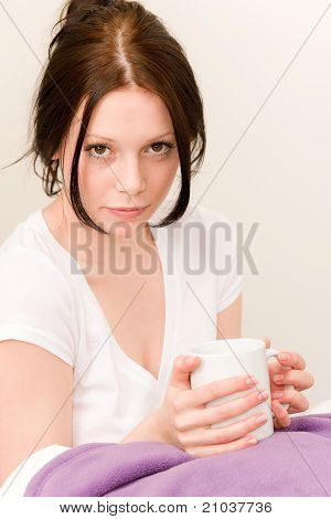 Young Student Girl Drink Coffee In Bed