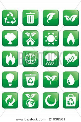 Glossy ecology icon set enviroment