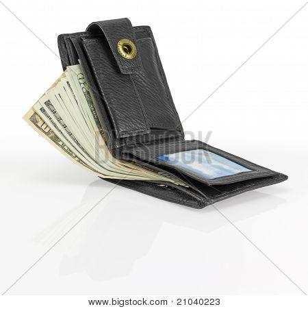 Schwarze Leder-Geldbörse mit Geld