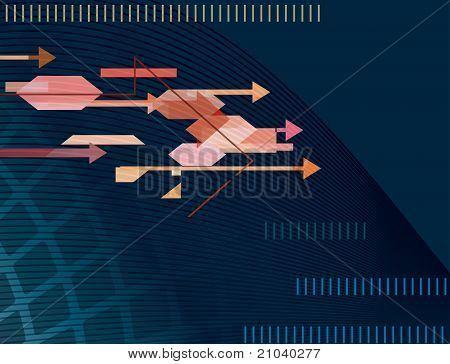 Abstract Blue Background With Arrows