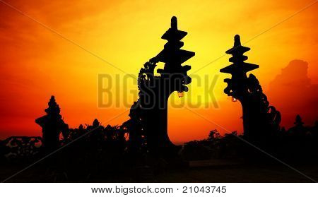 Traditional hindu gate at sunset background. Pura Besakih. Indonesia