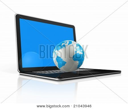 World Globe, Map On A Laptop