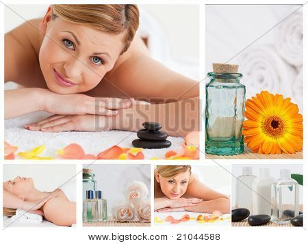 Collage Of A Pretty Blond Woman Relaxing